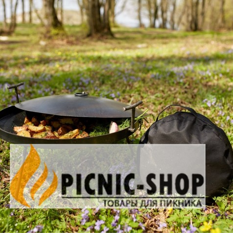 """Набір """"Сковорода із кришкою """"Пікнік з друзями"""", 500мм з чохлом"""